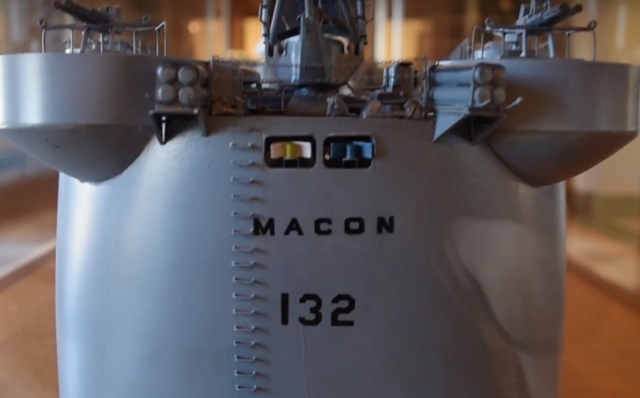 There was once a large builder's model of the cruiser USS Macon exhibited in the lobby of City Hall. Where is it now?