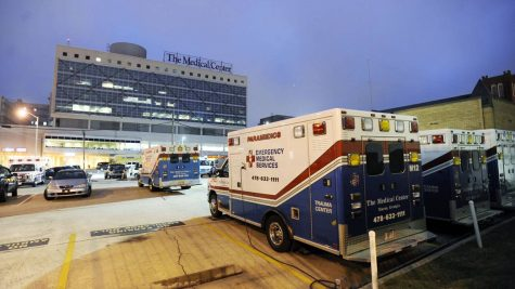 An ambulance is pictured outside the Medical Center, Navicent Health, (then The Medical Center of Central Georgia) in this 2009 file photo. Federal law requires all Medicare-participating hospitals with emergency departments to medically screen and stabilize any patient in need of emergency care.