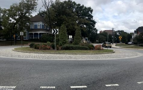 This roundabout at College and Oglethorpe streets in Macon opened in 2014 and has helped reduce the number of traffic accidents, officials say.
