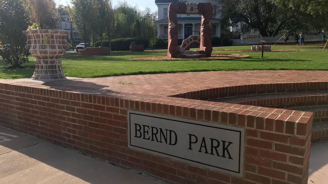 The new entrance signage and steps at Bernd Park.