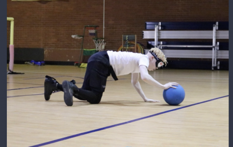 A student at the Georgia Academy for the Blind playing Goalball, a sport designed for the visually impaired.