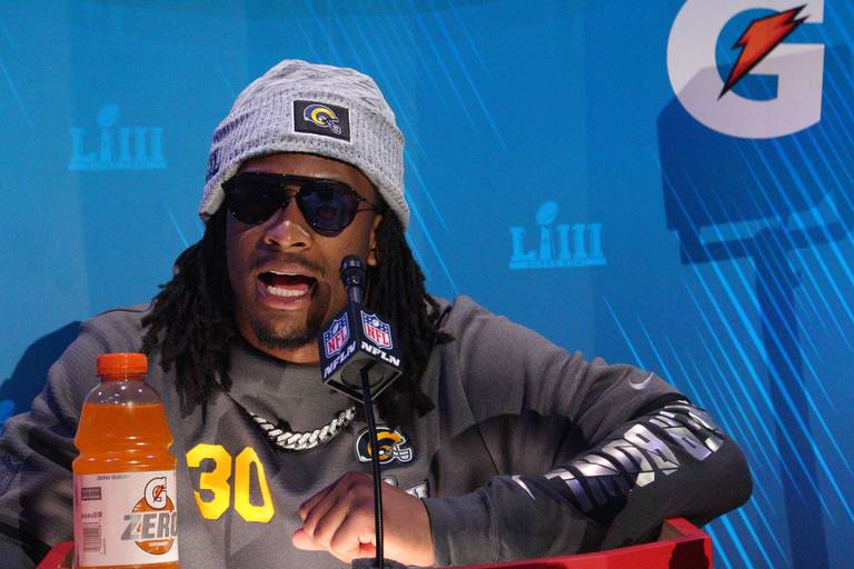 Todd Gurley addresses reporters at Super Bowl Media Day in Atlanta ahead of the big game on Sunday, Feb. 3.