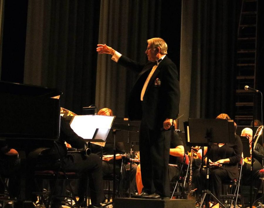 Bryan Shelburne conducts the Middle Georgia Concert Band during Cherry Blossom's 2019 'Georgia On My Mind' Concert.