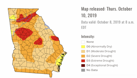 The U.S. Drought Monitor for Oct. 8 shows areas of Extreme Drought in red, Severe Drought in orange and Moderate Drought in tan.