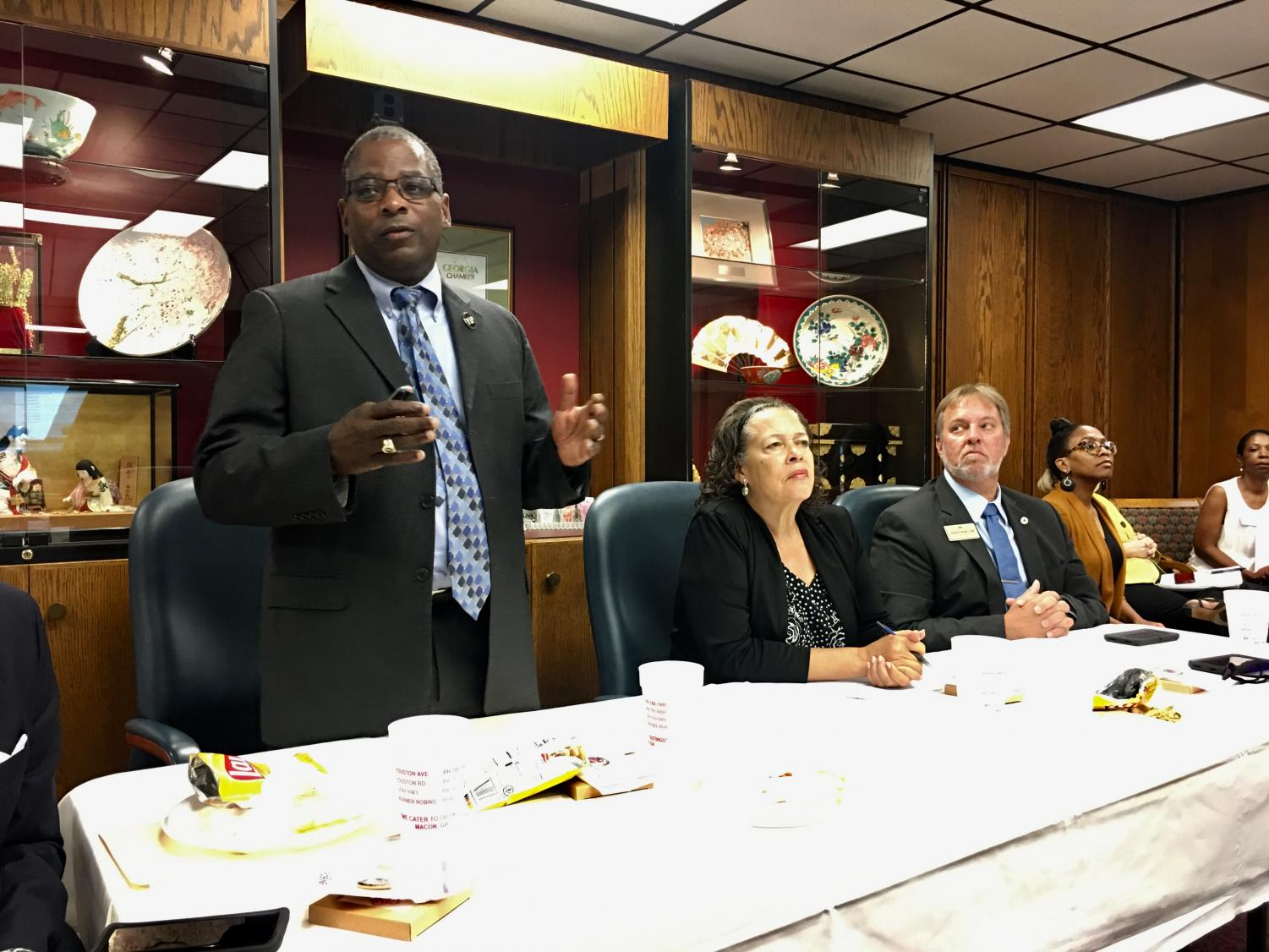 Bibb School District Superintendent Curtis Jones explains items included in the 2020 ESPLOST sales tax referendum to the Greater Macon Chamber of Commerce at its September meeting.