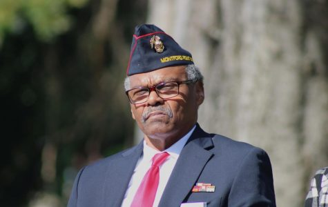 Sergeant Isaac Thomas is the featured speaker at Linwood Cemetery at the Veterans Day celebration. Sgt. Thomas is an Atlanta native who began active duty in the Marine Corps on November 1st, 1967. Photo credit: Ethan Thompson