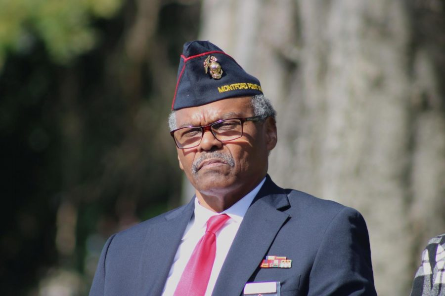 Sergeant+Isaac+Thomas+is+the+featured+speaker+at+Linwood+Cemetery+at+the+Veterans+Day+celebration.+Sgt.+Thomas+is+an+Atlanta+native+who+began+active+duty+in+the+Marine+Corps+on+November+1st%2C+1967.+Photo+credit%3A+Ethan+Thompson