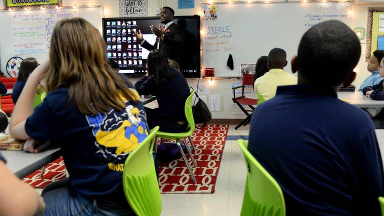 Nnamdi Onyekwuluje, case manager for the School-Justice Partnership program in Macon-Bibb County, talks to a fifth grade class at Springdale Elementary School about making good decisions as they go into middle school.