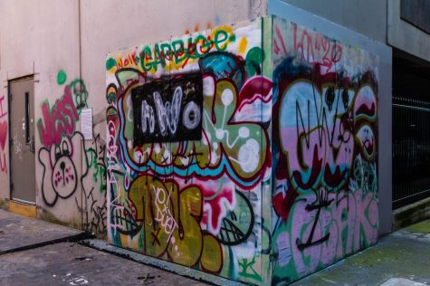 """Graffiti wall near Piedmont Brewery. """"Many street artists are happy to have a place to legally create their art, and will choose the graffiti walls over painting illegally on buildings"""" Macker said."""