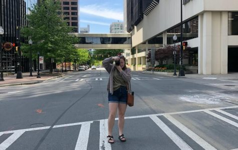 Photographing the empty streets of downtown Charlotte at lunch time with my sister, Emery, on March 30, 2020