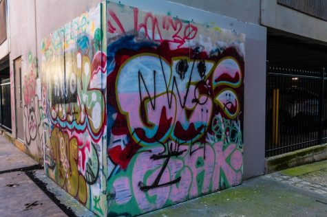 """Graffiti wall near Piedmont Brewery. """"Users range from people casually writing messages on the walls to street artists who paint large murals on the walls"""" Macker said."""