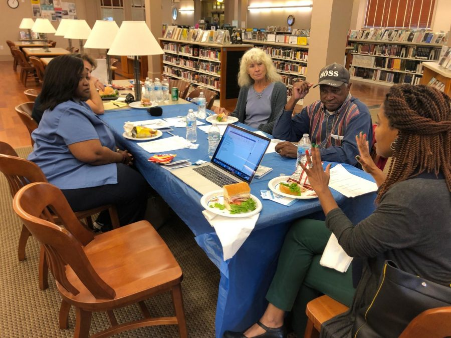CCJ hosted a table  to discuss youth violence at Lanford Library during On the Table October 2019.