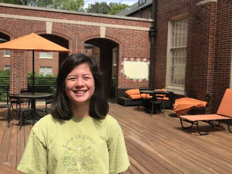 Phoebe Capps, 19, first-year resident assistant pictured in the MEP courtyard.