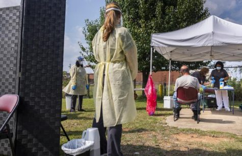 """Mercer University in Macon conducted pop up coronavirus testing at a homeless day center after other labs turned people away for not having a car for """"drive up"""" tests."""