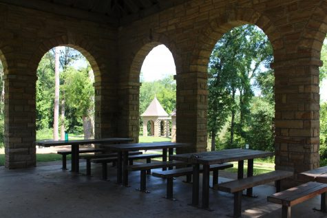 An image of the stone pavilion at Amerson River Park.