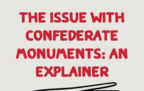 The Issue with Confederate Monuments: An Explainer written in red bubble letters on a tan background with a black squiggly line underneath it.