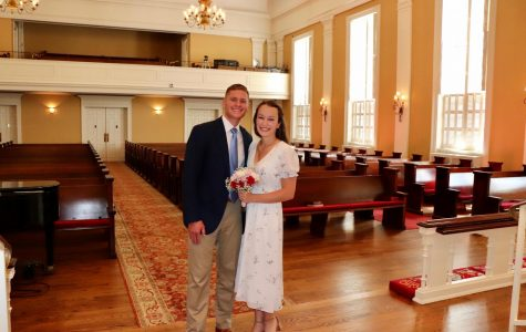 Alex and Caroline Davis stand in the empty Vineville Academy Methodist Church were they had their private ceremony. (Photo courtesy Caroline Davis.)