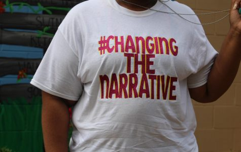 Drieka Moore shows her #ChangingtheNarrative shirt on July 8.