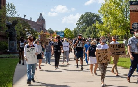Mercer turnout was high for the campus's first official social justice march. Many  created handwritten signs for the event.