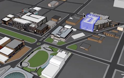 The proposed parking deck for the D.T. Walton mixed-use development is highlighted in blue. MMI-Thornton developers are still hoping to eventually secure financing for the remainder of the Central City Commons project along Poplar Street.