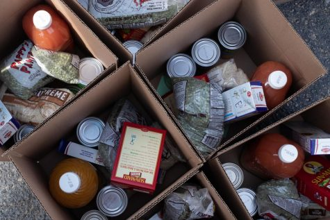 Some of the items boxed up for people during the Oct. 9 food give-a-way in South Macon.