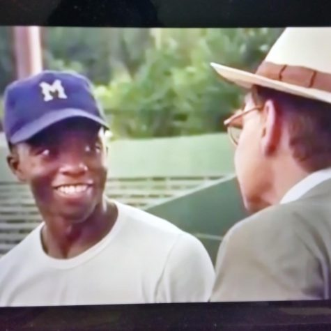 Chadwick Boseman in a scene from the movie 42 where parts of it was filmed at Luther Williams Field in Macon.