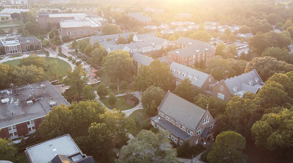 Drone camera footage of Mercer University's campus at the end of the Fall Semester.
