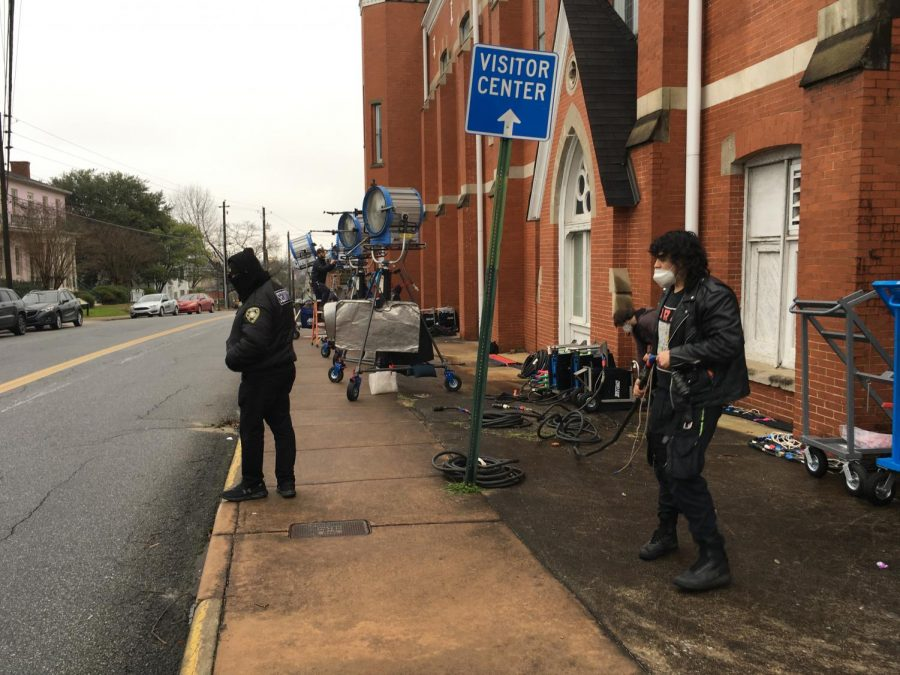Crews set up lights Friday morning at First Baptist Church of Christ for filming scenes for an upcoming Showtime series