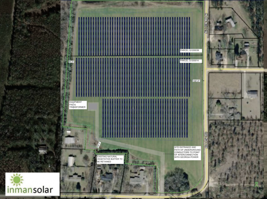 Inman Solar plans to install about 1,200 solar panels at 1441 Allen Road in south Macon-Bibb County.