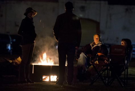 People participating in the 2016 Daybreak Sleep Out fundraiser in Macon.