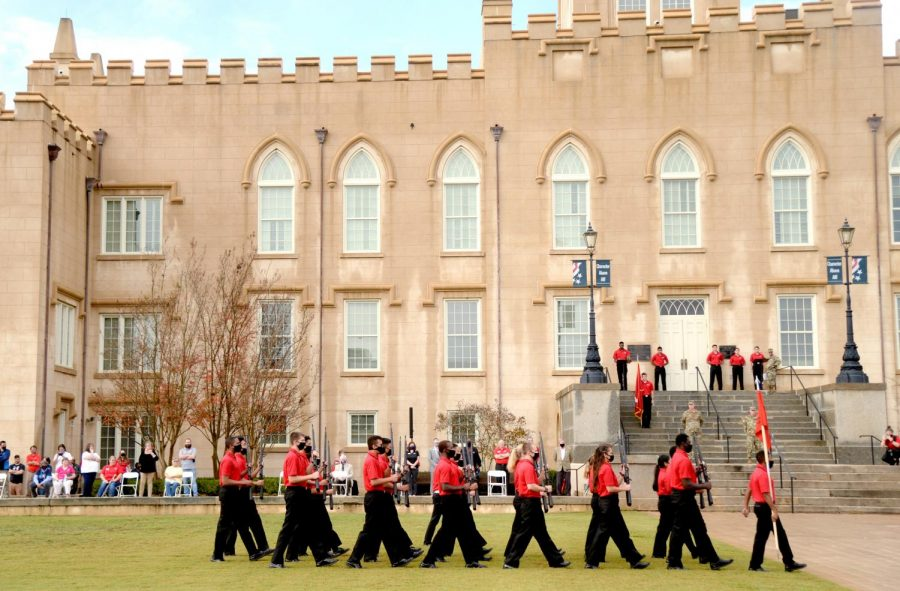 The Georgia Military College Corps of Cadets Drill Team performs during a Command Retreat on campus in honor of Veterans Day last year. The college usually hosts the event at Georgia War Veterans Home, but could not this year because of COVID-19 restrictions.