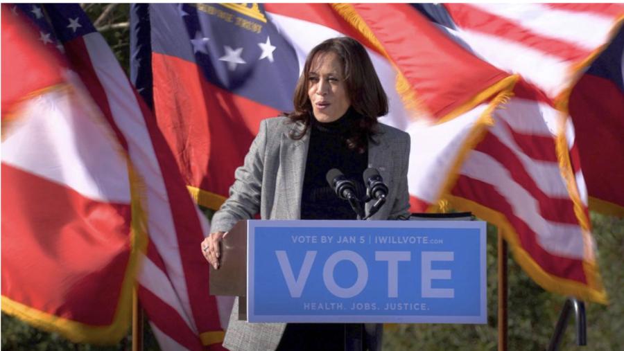 U.S. Vice President-elect Kamala Harris campaigns in Columbus, Georgia on January 21, 2020 for Raphael Warnock and Jon Ossoff.