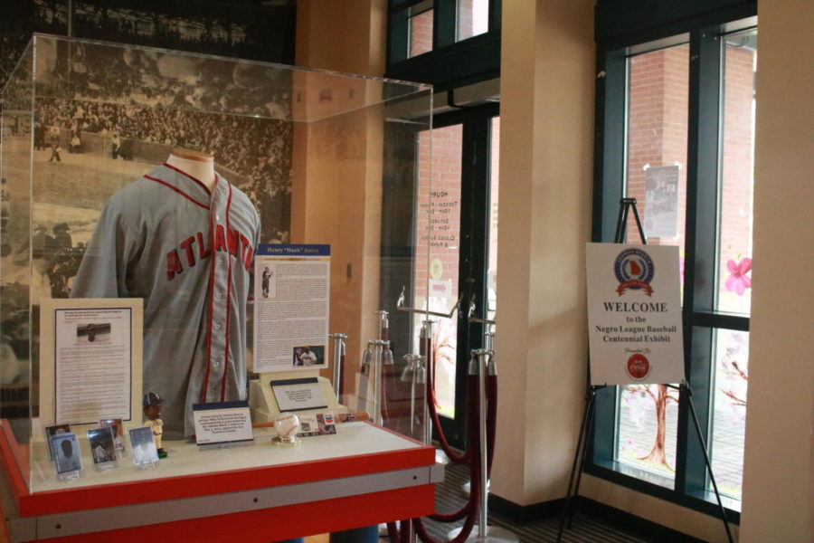 A Hank Aaron exhibit is displayed near the entrance to the Georgia Sports Hall of Fame, as a part of the Negro League Centennial exhibit on March 27, 2021 in Macon, Ga. Hank Aaron was a long-time Atlanta Braves baseball player but he started with the Indianapolis Clowns team of the Negro League.