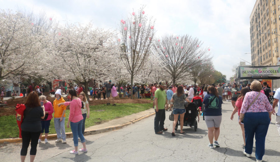 The Cherry Blossom Food Truck Frenzy fills with people swarming to get in line on March 27, 2021.