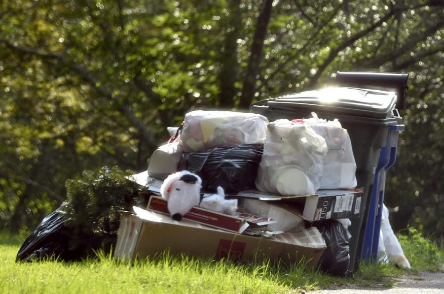 The trash was placed at the curb on Laura Ann Place off of Forest Hill Road earlier this month.