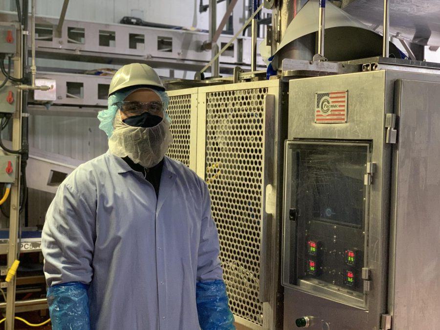 James Jorden  has been trained to operate one of Perdue Farms meat pack-bagging machines.