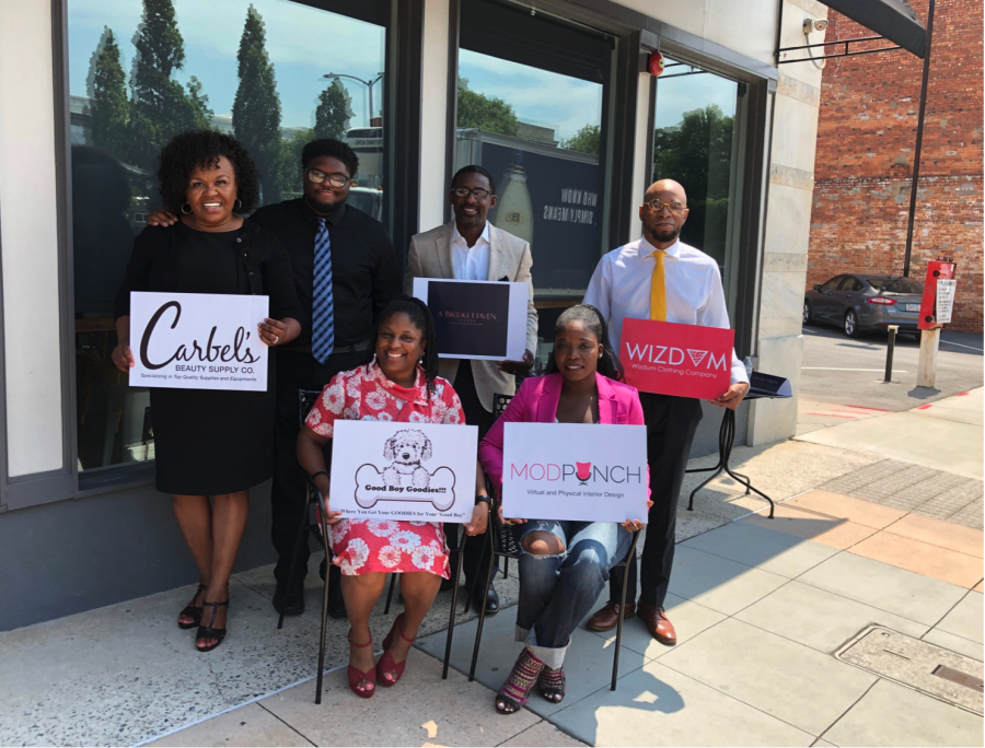 Here is the 2019 winners from the first Downtown Diversity Initiative.  Top: Beverly Pitts, owner of Carbel Beauty Plus, Darrin Ford, owner of Brooke Haven Lounge, Brandon Woodford, Wizdum Clothing.  Bottom: Arrkeicha Danzie, Good Boy Goodies and Nathalie Armand-Bradley, ModPunch Interiors