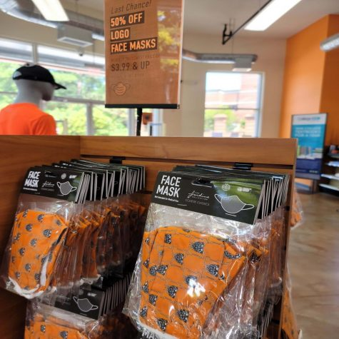 The Mercer University Bookstore is selling masks at a discounted rate in Mercer Village.