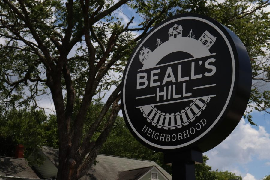 This Bealls Hill sign stands across the street from the plot of land on Oglethorpe Street that will house new duplexes in Bealls Hill.