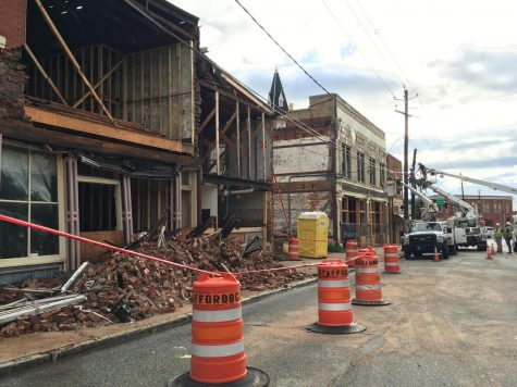 Light winds are blamed for crumbling the facade of a circa 1890 building under renovation at 835 Forsyth St. as Tropical Storm Fred tracked toward Macon.
