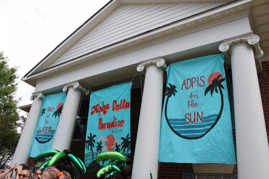 Mercer Universitys Alpha Delta Pi house decorated for Bid Day on Monday, September 6.